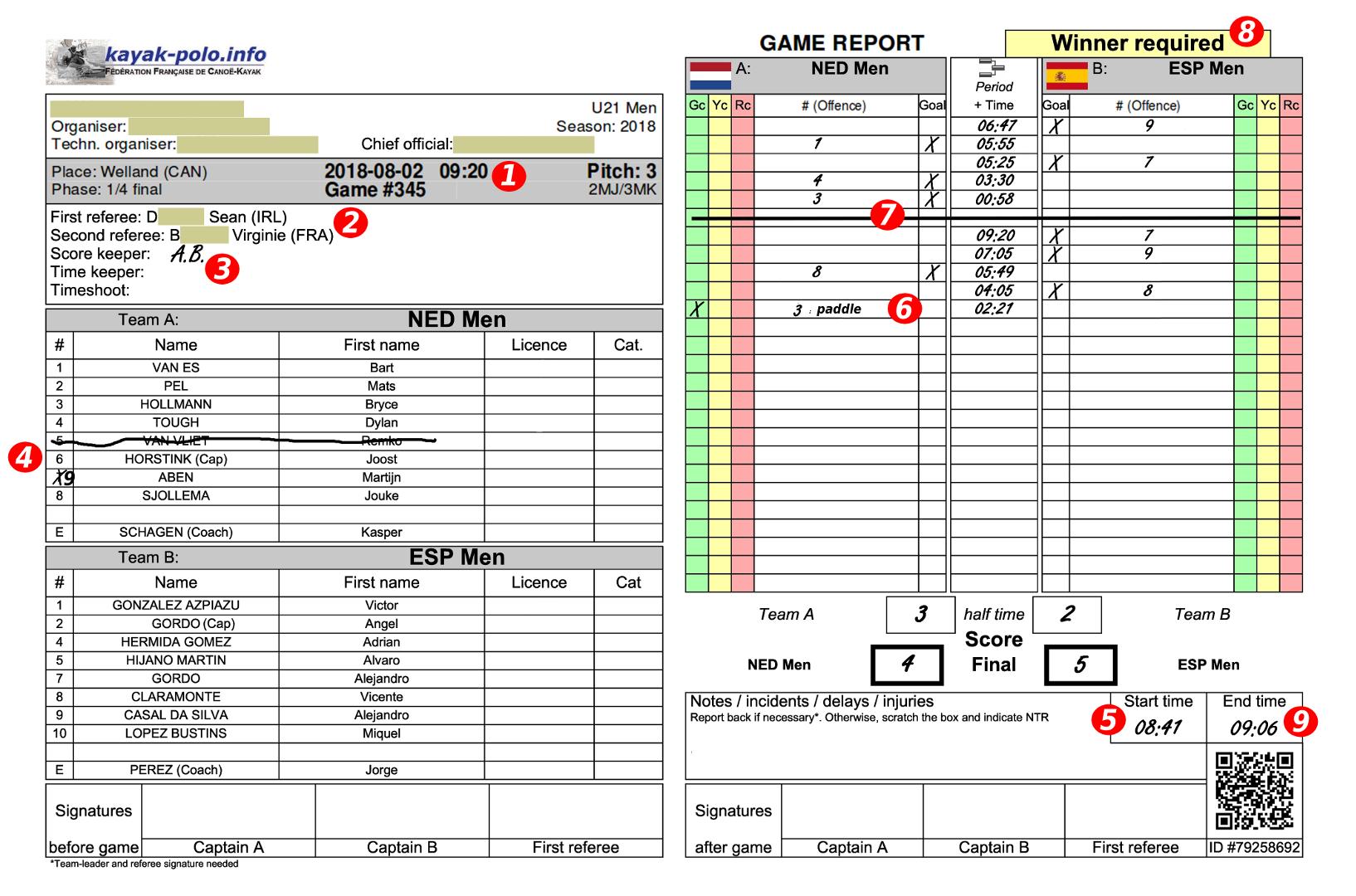 Feuille de marque / Game report